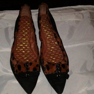 SAM EDELMAN BLACK & BROWN BALLET FLATS SIZE 9.5 M